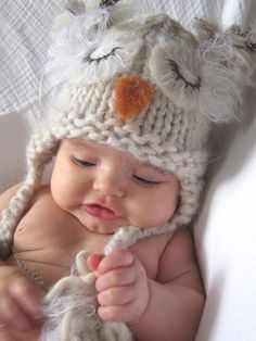 18c3749bb2f Sweet Knitted Sleeping Baby Owl Hat in Natural Color Wool Yarn with Needle  Felted Details.