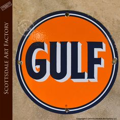 Vintage gas station signs, old gas pump advertising signs for GULF - classic 1930s Americana, collectable memorabilia, porcelain gas signs http://www.artfactory.com/gulf-gas-pump-advertising-sign-vs00100-p-9044.html