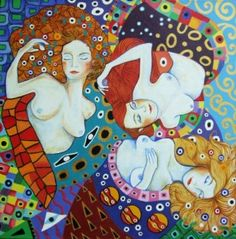 Manage A Trois-Anni Morris. Art Coves Premier greeting card of three colourful women.