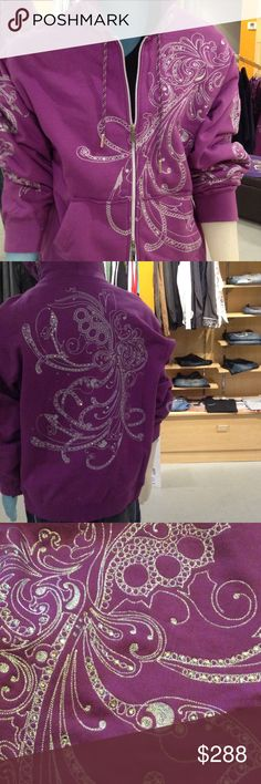 Artful Dodger Men's Crystal/Embroidered Hoodie Artful Dodger, purple, zip front hoodie; $288; 100% cotton (heavy weight); intricate crystallized embroidered design on front, back, hood and sleeves. Heavy gauge dual zipper (zips from the bottom and top; intricate purple/silver hood drawstrings. Front pockets. Artful Dodger Shirts Sweatshirts & Hoodies
