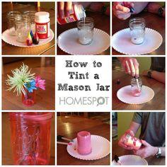 Learn how to tint a mason jar a color