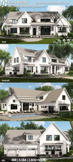 Technically too big but a really good layout, and a nice third rear door in the garage too. Architectural Designs Modern Farmhouse Plan 14662RK - 4 beds, 4.5 baths and over 2,800 sf