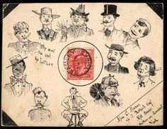 """Eleven characters from a Fop to a Chimney Sweep, with the question """"Who sent the girl the letter?"""", 1903. #mailart"""