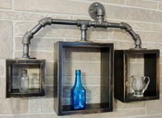 Box Pipe Shelves-Steampunk Shelves-Industrial by DueNorthCo