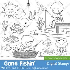 Gone Fishin Digital Stamps by pixelpaperprints on Etsy