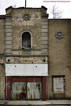 The abandoned Grande Ballroom on Grand River Avenue, Detroit, Michigan designed in 1928 by Charles N. Agree.  It is arguably the birthplace of punk and hard-driving rock . The building was designed in the Moorish Deco style.  The dance floor held 1,500 dancers.  It opened in 1928 and closed in 1972.  Sadly the big band sound faded away.
