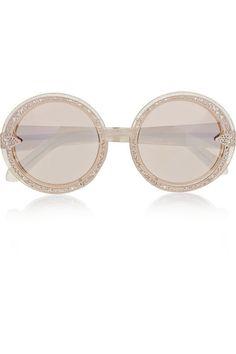 646ed09ade Karen Walker - Orbit Filigree round-frame gold-tone and glittered acetate  mirrored sunglasses