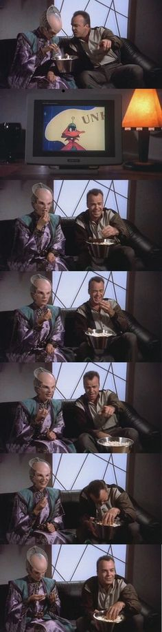 Cartoons may be Garibaldi's second favourite thing, but Delenn's confusion in this scene might be my #1.