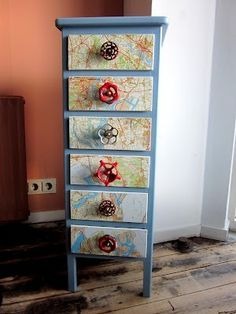 painted dresser, decoupage w/maps and add great industrial knobs by LOODY