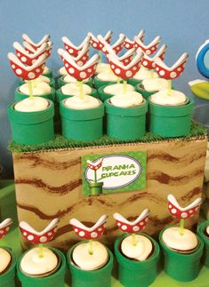 More Super Mario Bros Party Ideas (I like this idea for the piranha plant cupcakes -- use an image, on a straw or popsicle stick, stuck in the cupcake, rather than trying to do cake pops or something complicated)