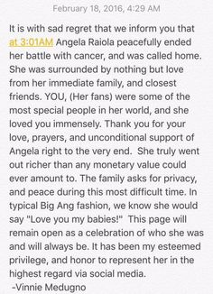 """Beloved Mob Wives Star Angela """"Big Ang"""" Raiola Has Passed Away. Loved her on the show, definitely the mama of the group! Big Ang held her own but thought of everyone else before herself, R.I.P. Big Ang..."""