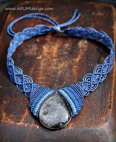 Elegant blue FIBER CHOKER with silver sheen OBSIDIAN stone, blue micro makrame necklace with stone