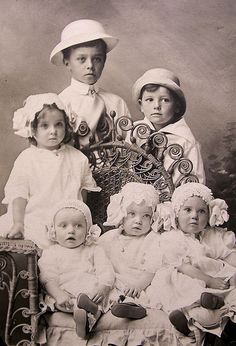 +~+~ Antique Photograph ~+~+    Gaggle of adorable siblings all in white.  1916.