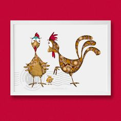 """Items similar to Illustration child, """"Hen and Rooster"""" on Etsy Chicken Lady, Patch Aplique, Chickens And Roosters, Quilt Binding, Galo, Sewing Art, Bird Illustration, Cute Birds, Coq"""