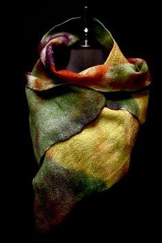 hand-dyed merino wool & merino/silk blend; hand felted