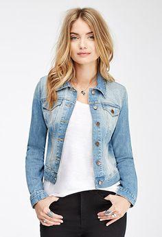 Faded Denim Jacket | LOVE21 - 2049258108