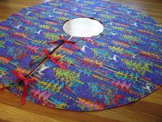 Purple Christmas Tree Skirt with Reindeer by ItsHandmadebyArianne, $64.00