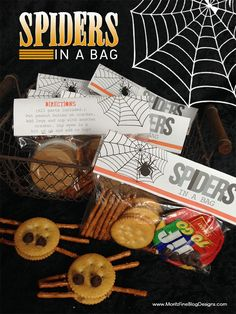 Spiders in a Bag are perfect for Halloween Parties or to put in your kid's lunches! Kids of all ages can build their own spider sandwiches! *If your kids have a peanut allergy, simply substitute almond butter!