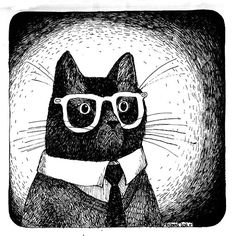 Mr Cat is Going to Work cat wearing glasses print of an Original Illustration by zyzanna #etsy