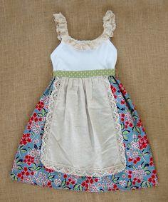 Blue Farmers Market Apron Dress - Infant, Toddler & Girls