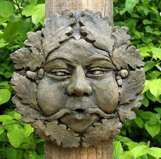 This is the Cressing Temple Green Man. The original is one of four water features at the Cressing Temple in Essex, founded by the Knights Templar in the 12th Century.