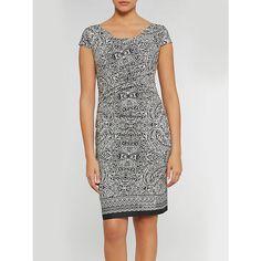 Buy Gina Bacconi Aztec Border Print Stretch Jersey Dress, Black/White Online at…