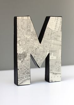 Vintage Map Black and Cream Letter M 8 inches by FleaMarketSunday Wooden Letters, Letters And Numbers, Map Crafts, Map Globe, Hearth And Home, Vintage Lettering, Typography Inspiration, Cool Posters, Design Crafts