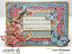 A stunning and thoughtful Botanical Tea sympathy card by Lori. Wonderful! #graphic45 #cards