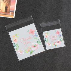 Celofánové vrecká THANK YOU- sada 6ks. New arrival 100Pcs Cute Pink flower  Print Gifts Bags Plastic DIY Candy Cookies Wedding Birthday Party 13d50e15178