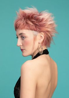 A Short pink hairstyle From the Street Life Collection by Charlie Miller Mohawk Hairstyles For Women, Formal Hairstyles For Short Hair, Uk Hairstyles, Creative Hairstyles, Short Hair Cuts, Short Hair Styles, Haircuts, Short Blonde, Blonde Hair