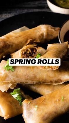Snacks Recipes, Veggie Recipes, Salad Recipes, Healthy Snacks, 2 Ingredient Pizza Dough, Spring Rolls, Rolls Recipe, 2 Ingredients, Hot Dog Buns