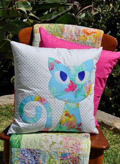 Ali's Cat Applique Cushion PDF pattern by claireturpindesign, $8.00