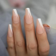 Opi Gel Nail Colors, Opi Gel Nails, Manicures, Coffin Nails Ombre, White Acrylic Nails, White Nails, Long Press On Nails, Coffin Press On Nails, Work Nails