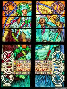 Stained glass window portraying the Great Slav Epic story by Alphonse Mucha, Czech Art Nouveau painter, in St. Vitus Cathedral, Prague.