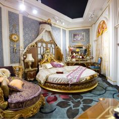 Bedroom : Bedroom classic design by european decorating with round bed plus round mattress and classical headboard plus canopy decoration as well as floral rug floor - 15 Classic Bedroom Design Collection