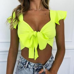 Summer Women Streetwear Butterfly Sleeve Lace Up Crop Top Ruffled Sleeveless Solid TShirt Lady Beauty Shirt Top Casual, Neon Outfits, Summer Outfits, Yellow Crop Top, Neon Yellow, Neon Crop Top, Festival Tops, Women's Summer Fashion, Boho Tops