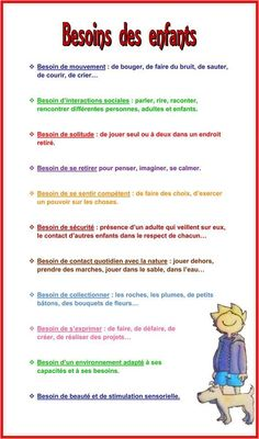Besoins des enfants - Education Bienveillante Montessori Maternage Astuce Evolution Parentalité positive Positive Attitude, Parentalité Positive, Activities For Kids, Maria Montessori, Early Childhood, Social Skills, Yoga For Kids, Kids Education, Preschool