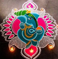 Check out latest ganesh rangoli designs and patterns which you can use to decorate your home this ganesh chaturthi. Happy Diwali Rangoli, Easy Rangoli Designs Diwali, Indian Rangoli Designs, Rangoli Designs Latest, Simple Rangoli Designs Images, Rangoli Designs Flower, Free Hand Rangoli Design, Small Rangoli Design, Rangoli Patterns