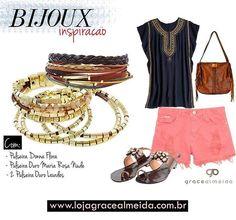 Inspiração de look descontraído, com acessórios irresistíveis!!! Mais looks no BLOG: www.gracealmeida.com.br/blog Acessórios na LOJA VIRTUAL: www.lojagracealmeida.com.br