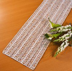 Caminho de mesa branco crochê de grampo