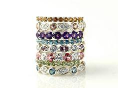 Stackable rings! LOVE!  14K Aquamarine Diamond Anniversary Band Half Eternity by RareEarth, $721.00