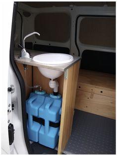 Mini Camper, Car Camper, Camper Trailers, Campers, Van Conversion Interior, Van Interior, Van Conversion Office, Van Conversion Sink, Minivan Camper Conversion