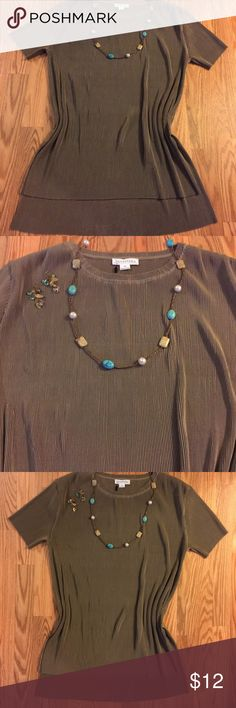 NWOT 10% ⤵️ GET DISCOUNTED SHIPPING! ⤵️ NWOT, TAUPE COLORED, SHORT SLEEVE TSHIRT/TUNIC. SIZE XL Tops Tunics