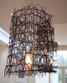 Recycled Metal Projects - bed springs lamp shade