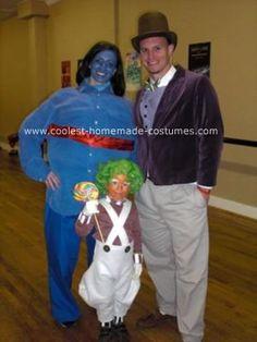 Homemade Willy Wonka, Ooompa Loompa and Violet Beauregarde Family Costume