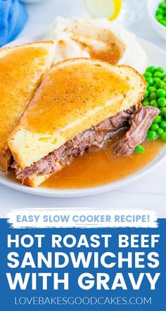 Crock Pot Slow Cooker, Slow Cooker Recipes, Beef Recipes, Cooking Recipes, Roast Beef And Potatoes, Mashed Potatoes, Hot Roast Beef Sandwiches, Easy Baked Beans