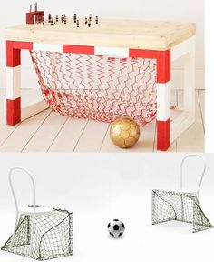 Soccer Goal Desk and Chairs - Someday, this will happen!