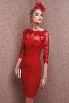 Vestido It's my party 6651 de encaje y gerogette rojo