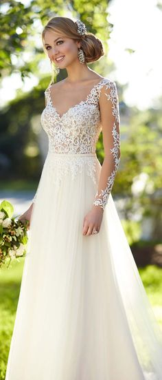 Stella York long lace sleeved wedding dress
