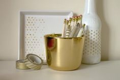 DIY gold glitter polka dot tray and bottle/vase